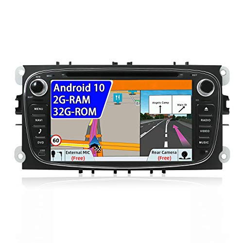 JOYX Android 10 Autoradio Compatible avec Ford Focus/Mondeo/S-Max/C-Ma/Galaxy - Caméra arrière Canbus GRATUITES - 2G+32G - 2 DIN 7 Pouces -Soutien Volant Bluetooth5.0 WLAN DAB 4G Carplay Android Auto