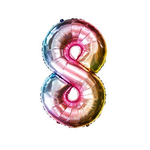 Oblique Unique® Folien Luftballon mit Zahl Nummer für Kinder Geburtstag Jubiläum Silvester Party Deko Folienballon in Regenbogenfarben Farbmix - Zahl wählbar (Nr 8)