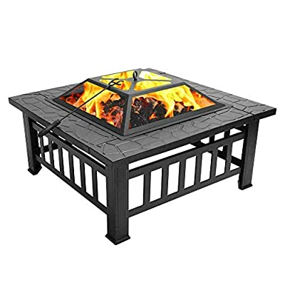 Burning Fire Pit, 32 Inch Metal Square Firepit with Spark Screen/Log Poker/Cover, Wood Firepit Patio Stove BBQ Grill for Backyard Garden Beaches Camping Picnic (US Stock)