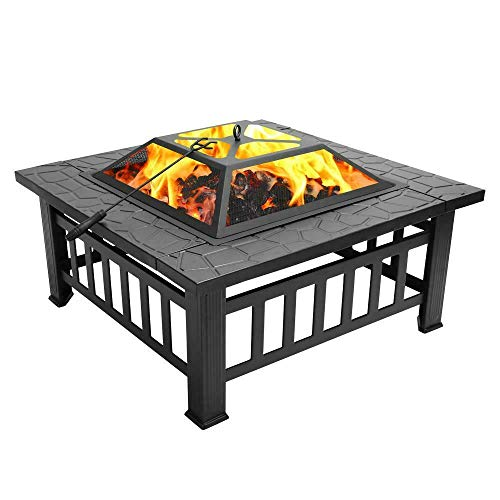 Qinghongkeen 32in Outdoor Metal Firepit Square Table Backyard Patio Garden Stove Wood Burning BBQ Grill Fire Pit Bowl with Spark Screen Cover Log Grate and Poker for Outside Wood Burning
