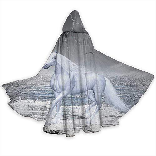 Romance-and-Beauty Capa de Capa para Adultos Mar en Tablero de ajedrez con un Caballo Unicornio Unisex Capa de túnica con Capucha de Longitud Completa Capa Larga Disfraz de Cosplay
