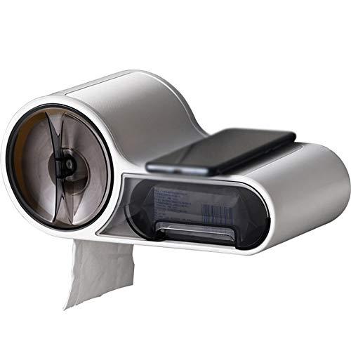 Toilettenpapierhalter Wasserdichter Toilettengewebespender Multifunktions-Badezimmerständer mit Aufbewahrungsbox Selbstklebend, kein Bohren erforderlich