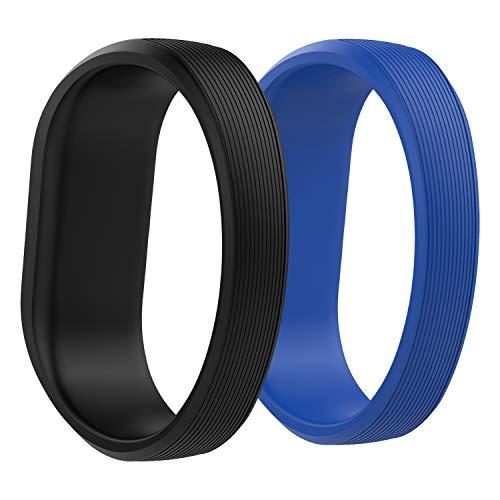 MoKo Correa Reloj de Silicona para Garmin Vivofit JR/Vivofit JR 2 / Muñequera Vivofit 3, [2 Pack] Pulsera Ajustable de Repuesto, Talla S, Negro y Azul Real