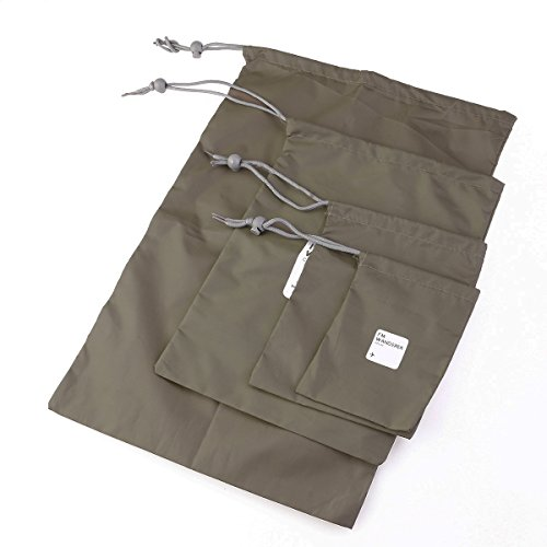 WINOMO Outdoor Travel Waterproof Nylon Drawstring Storage Bags Pouches Organizers in Different Sizes 4pcs (Olive Green)