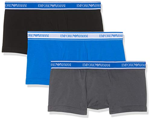 Emporio Armani Underwear Herren 3 Pack Trunk Colored Basics CORE Logoband Badehose, Grau (Antracite/Nero/ONDA 22844), Small (Herstellergröße:S)