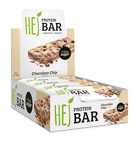 HEJ Protein Bar - Protein Riegel ohne Zuckerzusatz - Eiweißriegel - Fitness Riegel Protein - Geschmack Chocolate Chip - 12er Pack (12 x 60g)