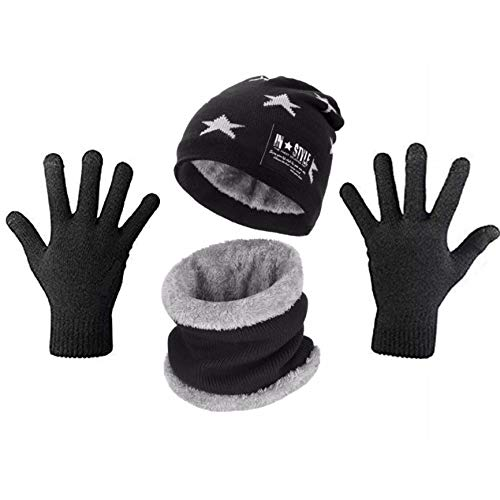 Wersoa Absolute Protection Winter Knit Star Print Beanie Cap Hat/Neck Warmer Scarf/Hand Gloves Set Woolen Cap for Men Women/Winter Cap Unisex (Black) Set of 3