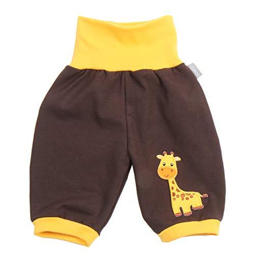 Lilakind - Pantalones bombachos para bebé (3/4, con bordado, talla 50/56-134/140. Fabricado en Alemania. Marrón amarillo. 110-116 cm