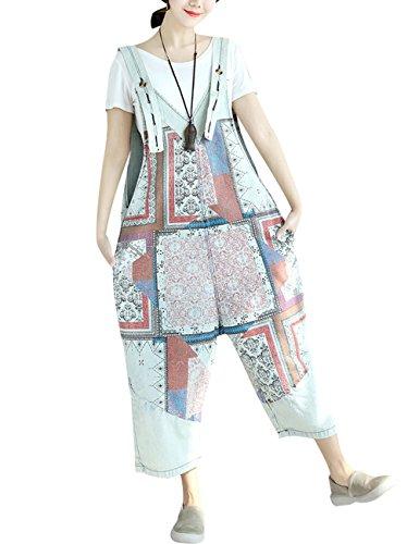 Youlee Damen Sommer Breites Bein Hose Denim Latzhose Overall Hosen Style 19 White