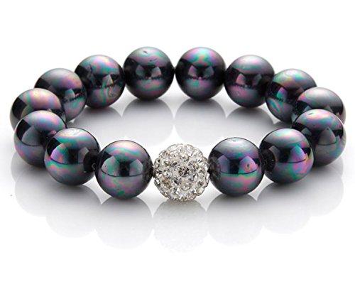 silvity Pearls Armband Muschelkernperlen Armband Kristall-Bead 1 cm 856403-20 Farbe: Blau