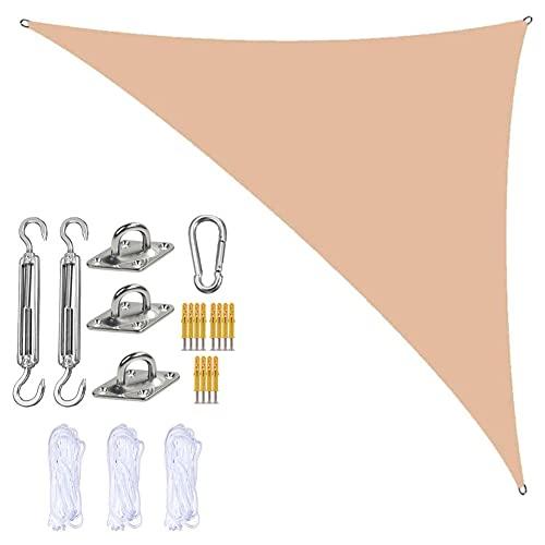 Jardín Sun Shade Sails Triangle Canopy con 3 Cuerdas Y Kit De Fijación, Sombra De Sol De Triangle Sombra, Impermeable Y Bloque UV, para Patios Al Aire Libre Cubierta Toldo,Cream,5m x 5m x 7m