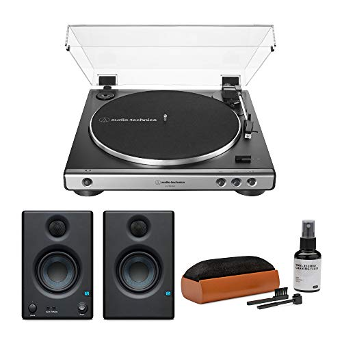 Audio-Technica AT-LP60X-USB Fully Automatic Belt-Drive Stereo Turntable (Gunmetal) with Presonus Eris e3.5 Monitors and Knox Gear Vinyl Record Care System Package (3 Items)