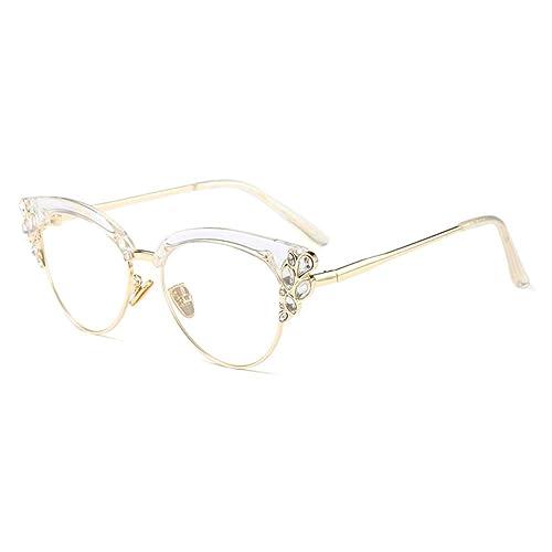 8a380969a56a Women Cat Eye Rhinestone Glasses Metal Frame Luxury Eyeglasses Female  Fashion