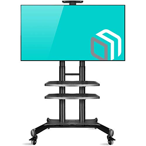 ONKRON Carro TV Soporte Móvil de Piso Pantallas LCD, LED, QLED de 55' - 80' de hasta 90,9 kg - TS18-81 Pie TV, Base TV