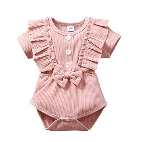 Huihong Baby RüSchen GekräUselt Strampler Neugeborene Outfits Solide LäSsig FrüHling Sommer Bodysuit Baumwolle Leinen Kleidung 0-18 Monate (70, Rosa)