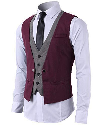 STTLZMC Hombre Chaleco de Traje Blazers Waistcoat sin Manga 2in1 Formal Boda Ceremonia,Vino,Large