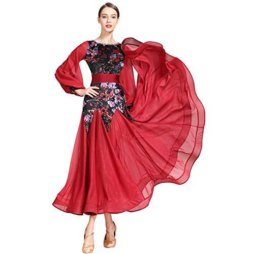 Modern retro jurk met rechtse mouwen, dansjurk, gezelschapsspord, voor prestaties, danslokalen, banketten, enz.