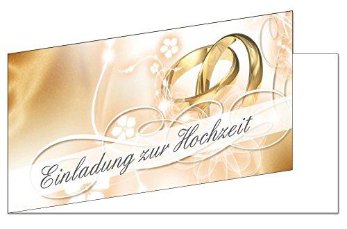 25 Stück Einladungskarten zur Hochzeit (EKT-102) Format DIN lang Einladungen Ringe Trauung Feier