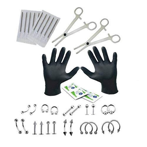 1set Berufs Piercing Kit Hals-Nasen-Nabel-Piercing Nippel-Set Mit Schmuck Nadeln Handschuhe Zubehör Piercing