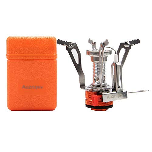 AUZNQEV Ultralight Portable Camping Stoves Backpacking Stove with Piezo Ignition Adjustable Valve Stainless Steel Material for Backpacking