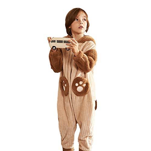 Nachthemden Schlafanzüge Kinderpyjamas Winterpyjamas Coral Fleece für Jungen und Mädchen Flanellheimservice-Set (Color : Brown, Size : 130cm (L Code))