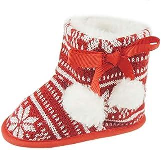 Glamour Girlz Zapatillas de bebé para niñas y niños con diseño de copos de nieve, color rojo (3-6 meses 12)