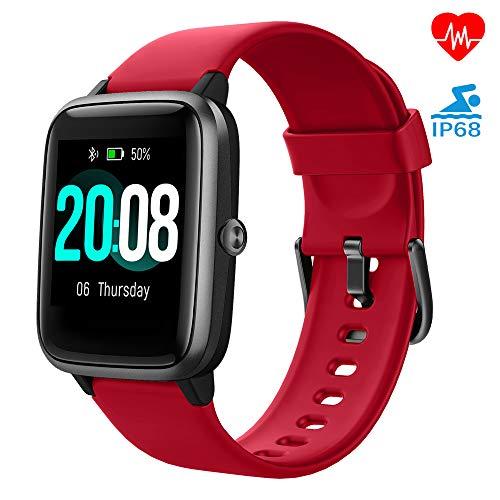 LIFEBEE Smartwatch, Fitness Armband Fitness Tracker Voller Touch Screen Smart Watch IP68 Wasserdicht Fitness Uhr mit Pulsuhren Schrittzähler Damen Herren Armbanduhr Sportuhr für iOS Android (Rot)