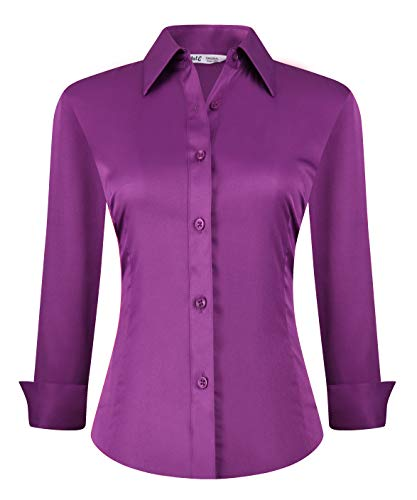 Womens Button Down Shirts Long Sleeve Regular Fit Basic Simple Stretch Work Blouse Purple XL