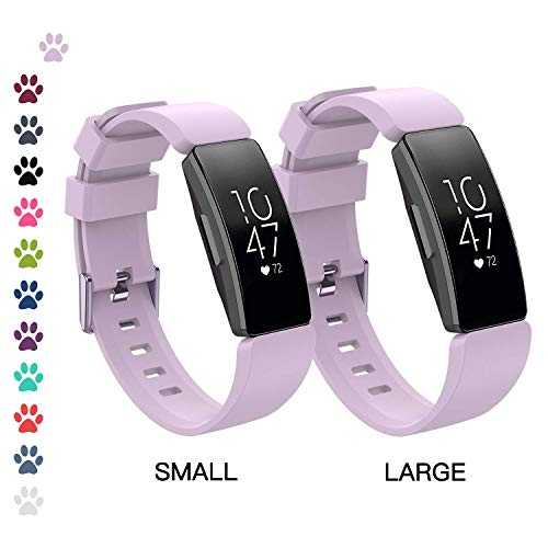 I-SMILE Fitbit Inspire/Inspire HR Bands, Classic Edition Replacement Sport Wristband for Fitbit Inspire/Inspire HR with Buckle, One Size(S & L Bands Included) (Lavender(S & L Bands Included))