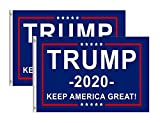 (Pack of 2) President Trump 2020 Keep America Great flags. Perfect for front lawns, backyards, vehicles, campaign events and rallies Premium polyester construction, UV-resistant and water-resistant. Dark blue background with bright red and white prin...