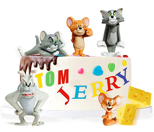 5Pcs Cute Tom and Jerry Cake Toppers for Kids Birthday Party Cake Decoration,Tom and Jerry Figure Collection Playset Doll Toy for Baby Shower Children Theme Party.