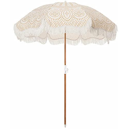 YIZHIYA Sombrilla de Jardín, Sombrilla de Exterior inclinable con borlas Estampadas, Paraguas Decorativos a Prueba de Viento del Patio del Paraguas de Sol a Prueba de Lluvia