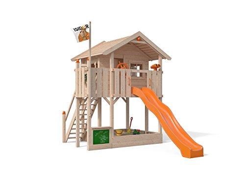 ISIDOR Wonder Wow Spielturm ohne Schaukelanbau, XXL Rutsche, Sandkasten, Balkon, Treppe auf 1,50 m Podesthöhe (Orange)