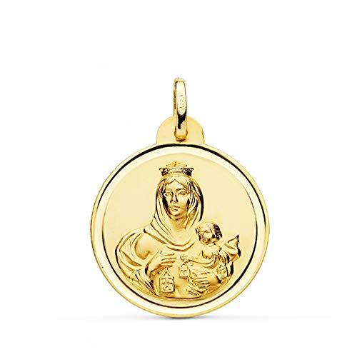 Medalla Escapulario V. Carmen y C. Jesús Oro 18 Kilates Bisel 24mm