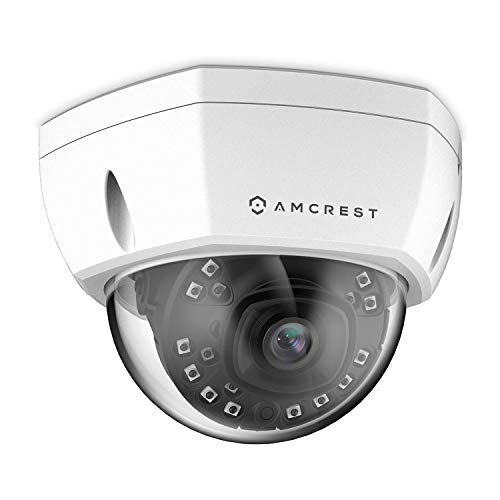 Amcrest UltraHD 4K (8MP) Outdoor Security POE IP Camera, 3840x2160, 98ft NightVision, 2.8mm Lens, IP67 Weatherproof, IK10 Vandal Resistant Dome, MicroSD Recording, White (IP8M-2493EW)