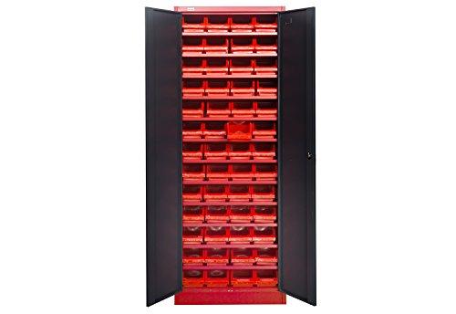 Kleinteileschrank Kirow mit Einlagen Materialschrank Stahlschrank mit 52 Schraubeneinlagen in rot von Jet-Line Lagersysteme