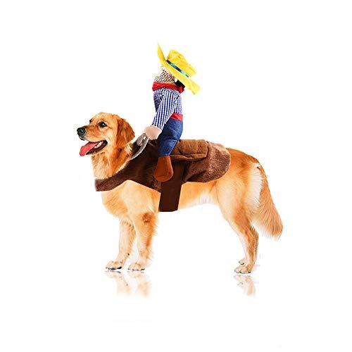 XinC Haustier Halloween Kostüm Reiten Anzieh Weihnachten Spaß Katze Hund Maskerade Requisiten Klettverschluss Easy Wear,M