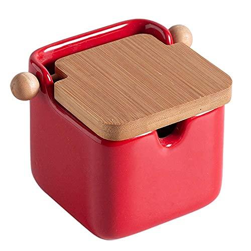Spice opslag keramische set thuis kruiden box zout doos suikervak kleur vierkante kruiden doos Kruiden potten WSYGHP