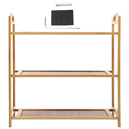 HelloCreate Estante de bambú para zapatos de 3 niveles, organizador de zapatos de bambú para el hogar, dormitorio, entrada
