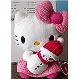 stogiit 20Cm Hello Kitty Holding Snowman Sanrio Original Kawaii Hello Kitty Peluches Peluche Peluche Muñeca Regalo de cumpleaños