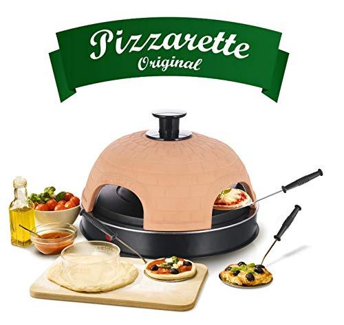 Emerio Pizzaofen, PIZZARETTE das Original, handgemachte Terracotta Tonhaube, patentiertes Design, für Mini-Pizza, echter Familien-Spaß für 4 Personen, PO-115985