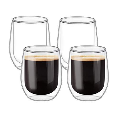 ComSaf Doppelwandige Thermo Gläser, 320ml Kaffeegläser für Espresso, Cappuccino, Tee, Heiß, Cocktail,Latte Macchiato und Kaltgetränke, Trinkgläser mit Schwebe-Effekt, 4er Set