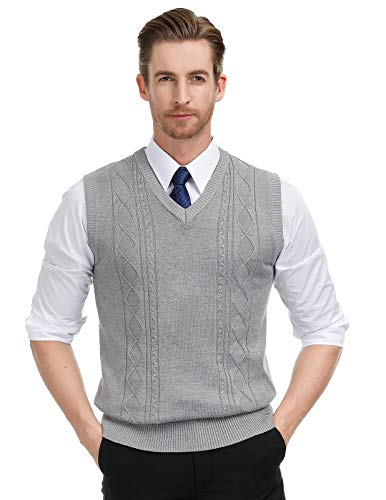 Paul Jones Mens Knitted Pullover Sweater Vests V-Neck Cable Patterned M Grey