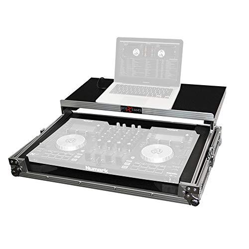 ProX X-NVLT Flight Case for Numark NV NVii and Mixtrack Pro 3 Digital Controller With Sliding Laptop Shelf - Silver on Black Design
