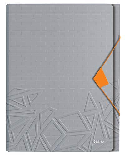 Leitz Projektmappe in A4 Format, 5 Fächer, Gummibandverschluss, Kapazität für 250 Blatt, Grau, Urban Chic, 39970088