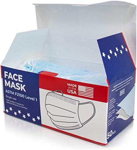 US Made Bulk Disposable Face Masks ASTM F2100-19 Level 1 Certified for Home Office Family Use (50 Count)
