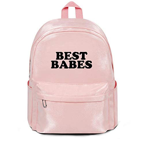 Best Babes Black Letter Print College Bookbag Casual Nylon Lightweight School Backpack Bag Purse