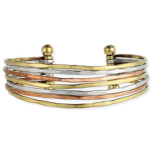 Boho Multi Mixed Metal Cuff Bangle Bracelets for Women in Silver Gold or Multi Toned Copper l SPUNKYsoul Collection (Multi-Tone Smooth)