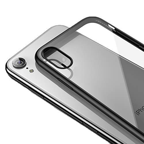 LAYJOY Funda iPhone XR, Carcasa Ligera Silicona Negro Suave TPU Bumper y Transparente Duro PC Case Anti-Arañazos, Anti-Golpes Caso Cover 6.1 Pulgadas - Clear