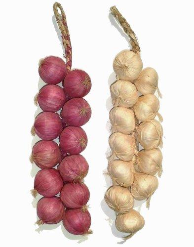 Ristras de ajos y cebollas artificiales, 2 unidades de 51 cm